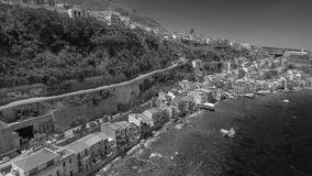Panoramic aerial view of Chianalea homes in Scilla, Calabria - I. Taly stock photos
