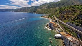 Panoramic aerial view of Chianalea homes in Scilla, Calabria - I. Taly stock image