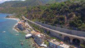 Panoramic aerial view of Chianalea homes in Scilla, Calabria - I. Taly royalty free stock photos