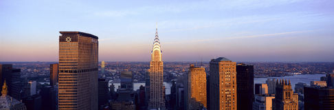 Panoramic aerial view of Chrysler Building and Met Life Building, Manhattan, NY skyline Stock Image