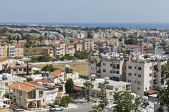 Panoramic aerial view of city and sea with blue sky in Paphos, Cyprus. Stock Image