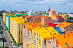 Panoramic aerial view of colored city street. In Kyiv, Ukraine Stock Photos