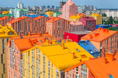 Panoramic aerial view of colored city street. In Kyiv, Ukraine Stock Photography