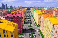 Panoramic aerial view of colored city street. In Kyiv, Ukraine Stock Photo