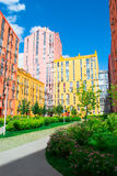 Panoramic aerial view of colored city street. In Kyiv, Ukraine Stock Image