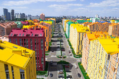 Panoramic aerial view of colored city street. In Kyiv, Ukraine Royalty Free Stock Photo
