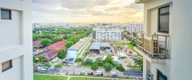Panoramic aerial view construction site foundation works at Eunos neighborhood, Singapore. Panorama aerial view construction site near completed HDB complex at royalty free stock photography