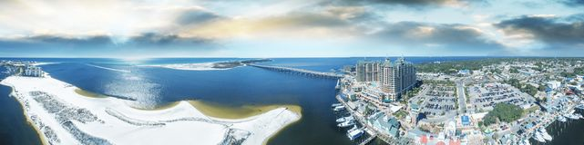 Panoramic aerial view of Destin, Florida at sunset stock images
