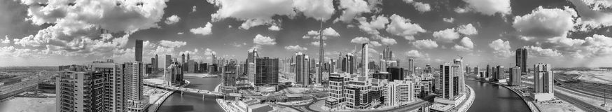 Panoramic aerial view of Downtown Dubai skyscrapers, UAE Stock Images