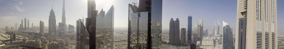 Panoramic aerial view of Downtown Dubai skyscrapers, UAE Royalty Free Stock Photography