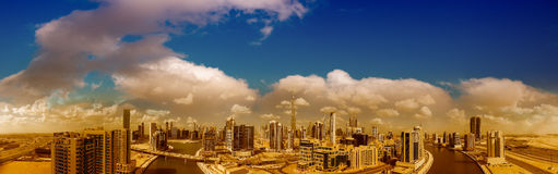 Panoramic aerial view of Downtown Dubai skyscrapers, UAE Stock Image