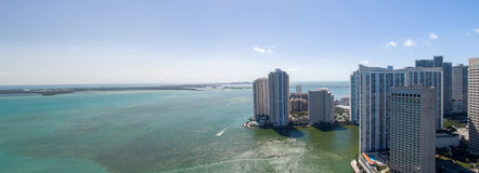 Panoramic aerial view of Downtown Miami and Brickell Key, Florid Royalty Free Stock Image