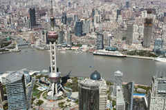 Panoramic aerial view of downtown Shanghai Royalty Free Stock Photo