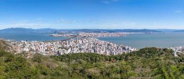 Panoramic Aerial view of Dowtown Florianopolis City in Florianopolis, Santa Catarina, Brazil Stock Image