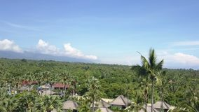 Panoramic aerial view from drone on sea, seashore, jungle and mountains, Bali, Indonesia stock video footage