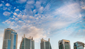 Panoramic aerial view of Dubai Downtown at dusk Royalty Free Stock Photos