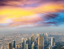 Panoramic aerial view of Dubai Downtown at dusk Stock Photography