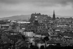 Panoramic aerial view of Edinburgh, Scotland in moody weather. Black and white. Edinburgh, UK. Panoramic aerial view of Edinburgh, Scotland in moody weather with Stock Photos