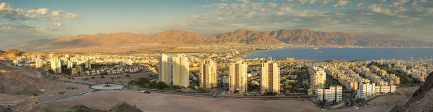 Panoramic aerial view on Eilat Israel and Aqaba Jordan. The image was taken from surrounding hills near Eilat, Israel Stock Photography