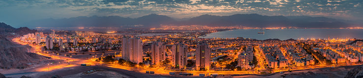 Panoramic aerial view on Eilat (Israel) and Aqaba (Jordan) Royalty Free Stock Photography