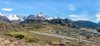 Panoramic aerial view of El Chalten village and Mount Fitz Roy in Patagonia - El Chalten, Argentina Royalty Free Stock Photo