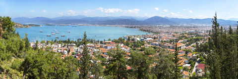Panoramic aerial view of Fethiye marine and city center in Mugla Stock Photography