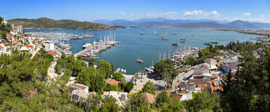 Panoramic aerial view of Fethiye marine Royalty Free Stock Photos