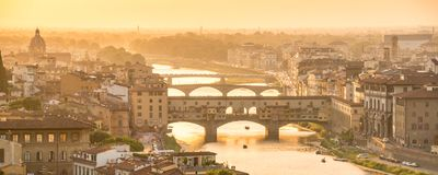 Panoramic aerial view of Florence at sunset  with the Ponte Vecchio and the Arno river, Tuscany Italy Stock Photo