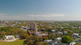 Panoramic aerial view of Forsyth Park in Savannah royalty free stock image