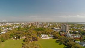 Panoramic aerial view of Forsyth Park in Savannah stock photo