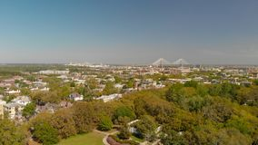 Panoramic aerial view of Forsyth Park in Savannah royalty free stock photo