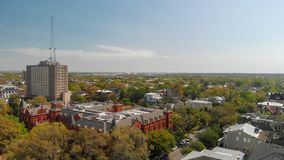 Panoramic aerial view of Forsyth Park in Savannah stock image