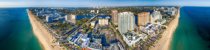 Panoramic aerial view of Fort Lauderdale on a sunny day, Florida royalty free stock photography