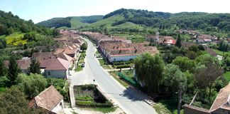 Aerial view of Valea Viilor Saxon village, Transylvania, Romania Royalty Free Stock Photography