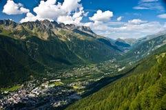 Chamonix panorama aerial view stock photography
