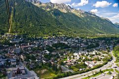 Chamonix panorama from cable car stock photography