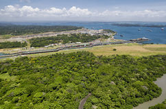 Panoramic aerial view of Gatun Locks with cargo ships passing through, Royalty Free Stock Photo