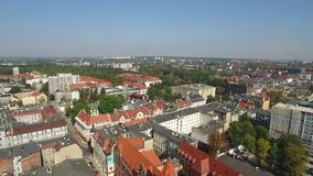 Panoramic aerial view of the Gliwice - in Silesia region of Poland - city center and historic old town quarter stock footage