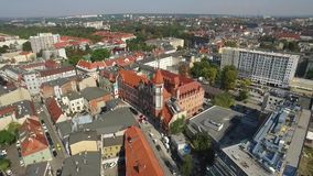 Panoramic aerial view of the Gliwice - in Silesia region of Poland - city center and historic old town quarter stock video