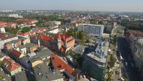 Panoramic aerial view of the Gliwice - in Silesia region of Poland - city center and historic old town quarter stock video footage