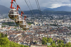 Panoramic aerial view of Grenoble city, France Stock Images