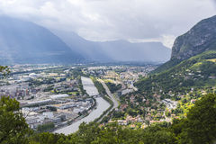 Panoramic aerial view of Grenoble city, France Stock Image