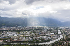 Panoramic aerial view of Grenoble city, France Royalty Free Stock Photo
