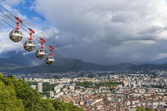Panoramic aerial view of Grenoble city, France Stock Photos
