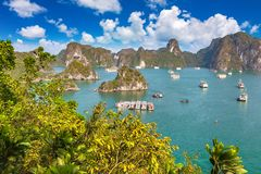 Halong bay, Vietnam. Panoramic aerial view of Halong bay, Vietnam in a summer day stock images