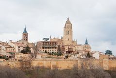 Panoramic aerial view of the historic city center of Segovia sky stock photo