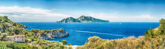 Panoramic aerial view with the Island of Capri, Italy Royalty Free Stock Photo