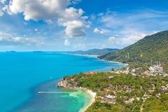 Koh Phangan island, Thailand. Panoramic aerial view of Koh Phangan island, Thailand in a summer day stock photo