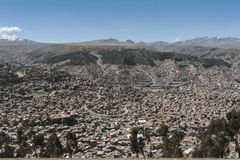 Panoramic aerial view of La Paz from Mi Teleferico cable car transit system - Bolivia stock images