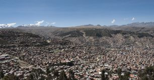 Panoramic aerial view of La Paz from Mi Teleferico cable car transit system - Bolivia royalty free stock images